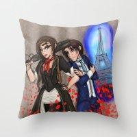bioshock infinite Throw Pillows featuring Bioshock Gender Swapy by Phantasmic Dream