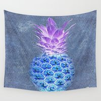 pineapple Wall Tapestries featuring Pineapple  by Saundra Myles