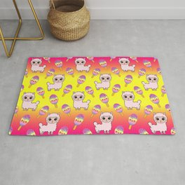 Cute happy fluffy cuddly funny Kawaii baby llamas, sweet adorable yummy colorful Kawaii rainbow ice cream popsicles cartoon summer yellow pink pattern design. Rug