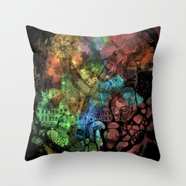 Tiny World - Midnight Throw Pillow