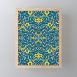 Blue Vines and Folk Art Flowers Pattern Framed Mini Art Print