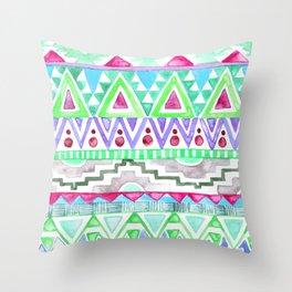 Watercolor Aztec Pattern Mint Throw Pillow