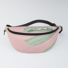 Green leaves on rose ink Fanny Pack
