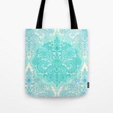 Happy Place Doodle in Mint Green & Aqua Tote Bag