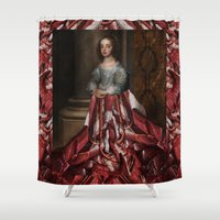 dress Shower Curtains featuring Meat Dress by DIVIDUS