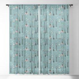 Mid Century Kitty Mischief - ©studioxtine Sheer Curtain