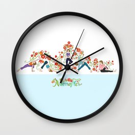 Yoga Girls_Growing With Poses_Robin Pickens Wall Clock