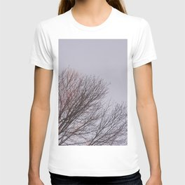 BROWN LEAFLESS TREE UNDER WHITE SKY T-shirt
