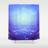 tolkien Shower Curtains featuring All But the Brightest Stars (Sirius Star Geometric) by soaring anchor designs