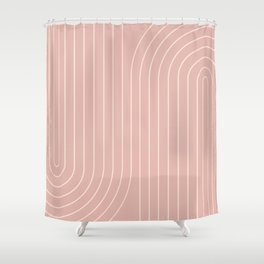 Minimal Line Curvature - Vintage Pink Shower Curtain