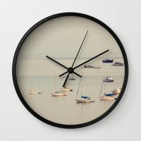 boats Wall Clocks featuring Boats by Amelia Kay Photography