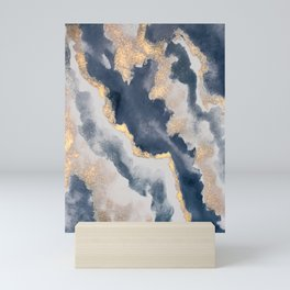 All that Shimmers – Gold + Navy Geode Mini Art Print