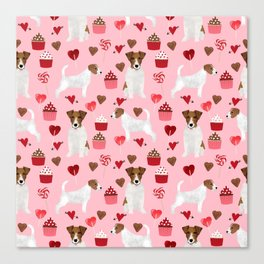 Jack Russell Terrier valentines day cupcakes and hearts love pattern gifts for dog lovers Canvas Print