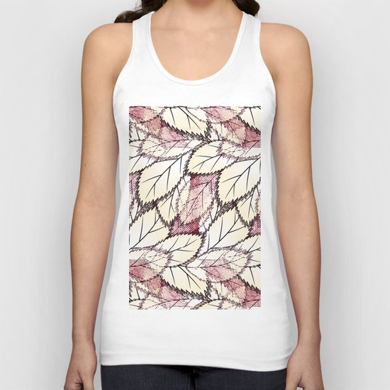 Delicate openwork leaves on a white , light brown background. Unisex Tank Top