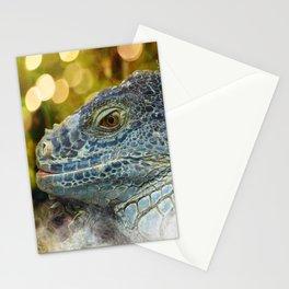 Large Scaly Green Iguana Lizard Stationery Cards