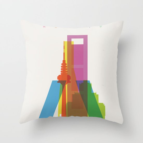 Shapes of Madrid. Accurate to scale. Throw Pillow
