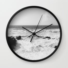 Vintage film style Black and white coast. Wall Clock