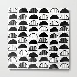 Scallop linocut black and white minimal pattern design inky textured scallops Metal Print