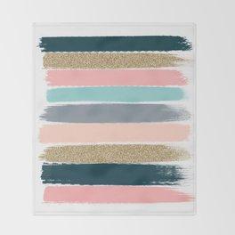 Zara - Brushstroke glitter trendy girly art print and phone case for young trendy girls Throw Blanket