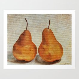 Two Pears - still life with Bosc pears Art Print