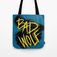 bad wolf Tote Bags featuring BAD WOLF by Amanda Steuck
