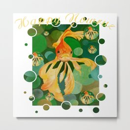 Happy Nowruz Persian New Year Goldfish In Green Sea Metal Print