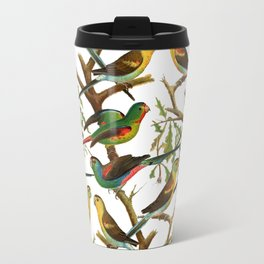 Colorful red green tropical birds parakeets pattern Travel Mug