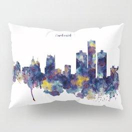 Detroit Skyline Silhouette Pillow Sham