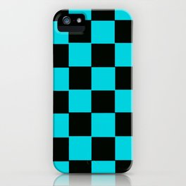 Turquoise & Black Chex 2 iPhone Case