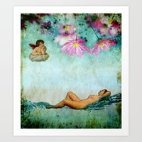 swimming Art Prints featuring swimming by Rosa Picnic