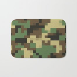 Army Camouflage Pixelated Pattern Green Brown Mountain Bath Mat