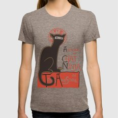 A French Ninja Cat (Le Chat Ninja) Tri-Coffee MEDIUM Womens Fitted Tee