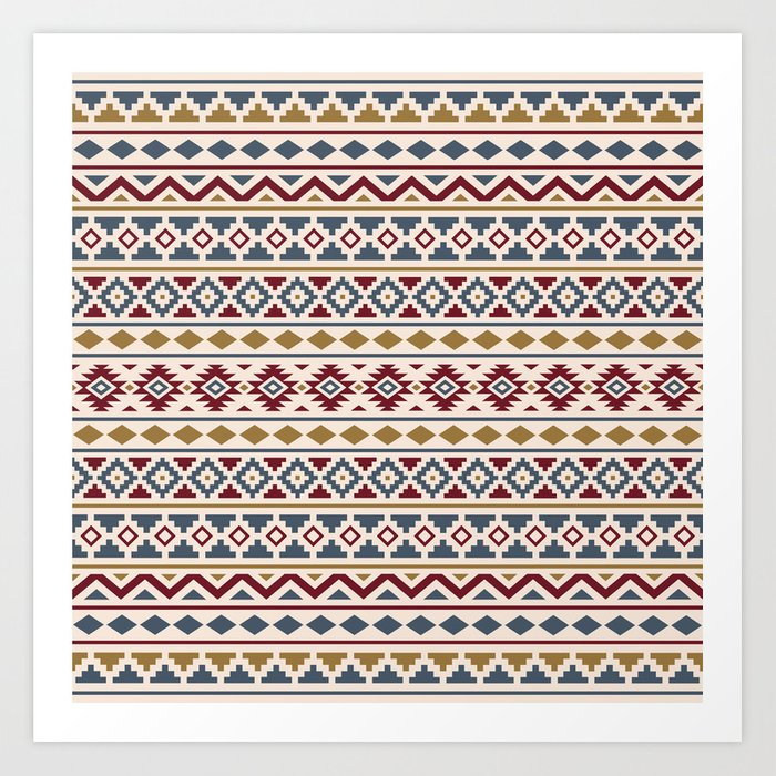 Aztec Essence Pattern II Red Blue Gold Cream Art Print