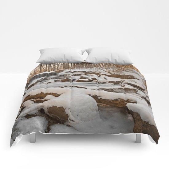 Winter Sunset Waterfall Comforters
