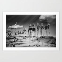 -Caravan Dali-   black and white Art Print