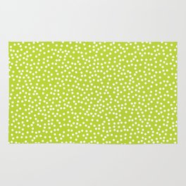 Lime Green and White Polka Dot Pattern Rug
