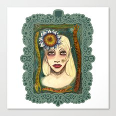 snakes and sunflower girl Canvas Print