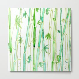Watercolor Bamboo Forest Pattern Metal Print