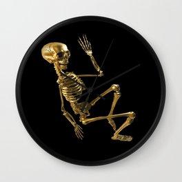 Golden Skeleton Wall Clock