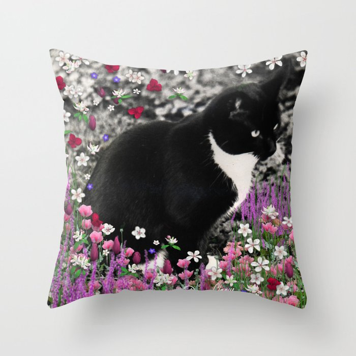 Freckles in Flowers II - Tuxedo Kitty Cat Throw Pillow by dianeclancy Society6