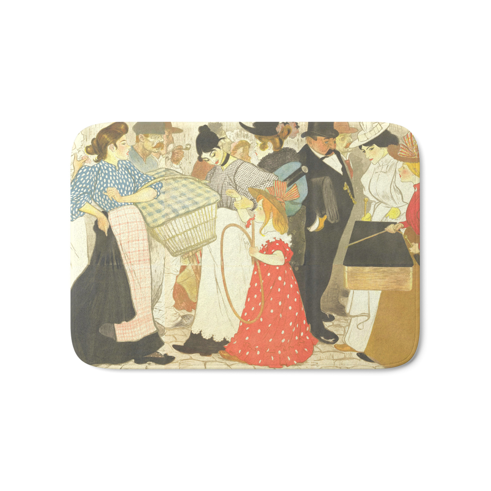 """Theophile Steinlen """"the Street (La Rue), Poster For The Printer Charles Verneau"""" Bath Mat by alexandra_arts"""