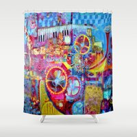 steam punk Shower Curtains featuring Steam Punk Music Box  by SharlesArt