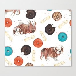 Bulldogs and donuts Canvas Print