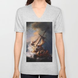 The Storm On The Sea Of Galilee Painting By Rembrandt Unisex V-Neck