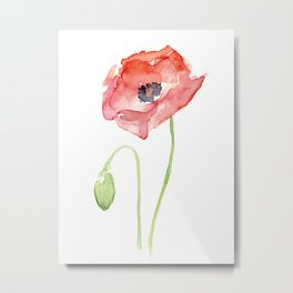 Red Poppy Watercolor Flower Floral Abstract Metal Print