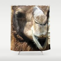 camel Shower Curtains featuring camel by Laura Grove