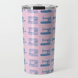Vintage Sewing Thread Machine Needle Pattern Travel Mug