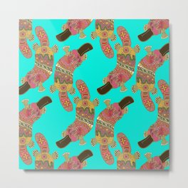 duck-billed platypus turquoise Metal Print