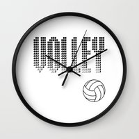 volleyball Wall Clocks featuring Volleyball by raineon