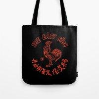 sriracha Tote Bags featuring East Side Austin, Tx - Sriracha spoof by Sanctuary Printshop